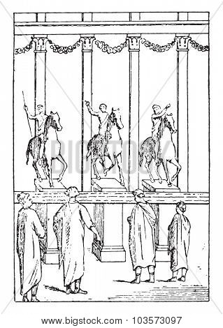 Judiciaries advertisements, vintage engraved illustration.