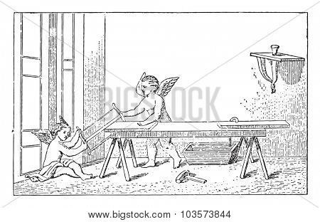 Geniuses carpenters, vintage engraved illustration.