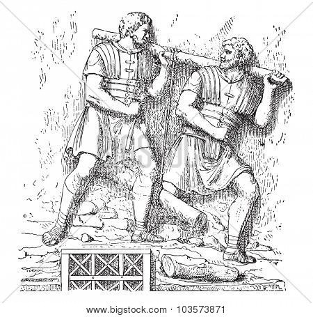 Soldiers carrying a tree, vintage engraved illustration.