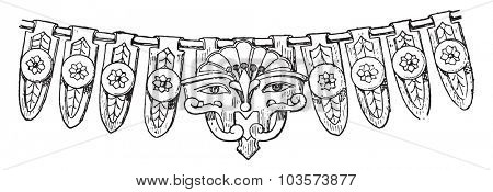 Fragment of Egyptian necklace with cow's head, vintage engraved illustration.