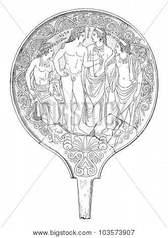 Etruscan mirror, vintage engraved illustration.