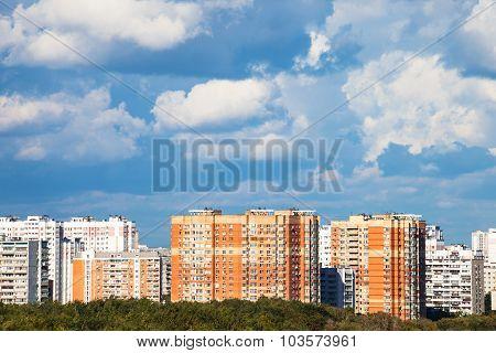 Heavy Low Blue Clouds Over City Quarter