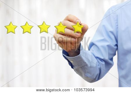 Businessman Drawing Five Star Rating,concept Of Quality And Luxury
