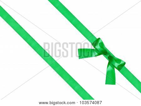 One Green Bow Knot On Two Diagonal Silk Ribbons