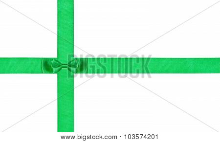 One Double Little Green Bow-knot On Two Satin Ribbons