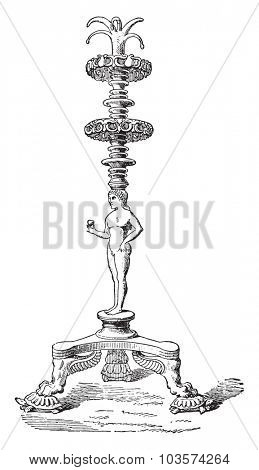 Candelabra, vintage engraved illustration.