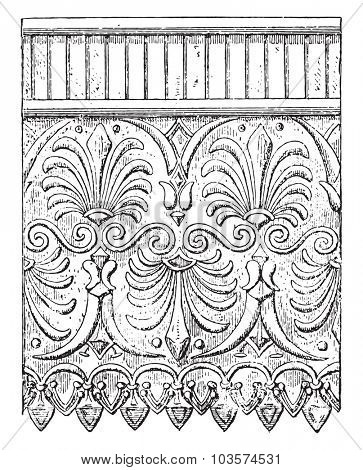 Terracotta ornaments, vintage engraved illustration.