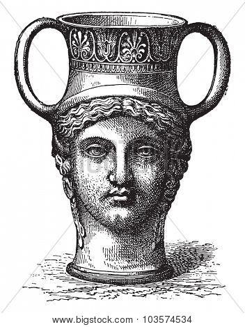 Vase-shaped head, vintage engraving.