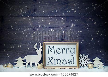 Vintage White And Golden Christmas Card, Snowflake, Merry Xmas