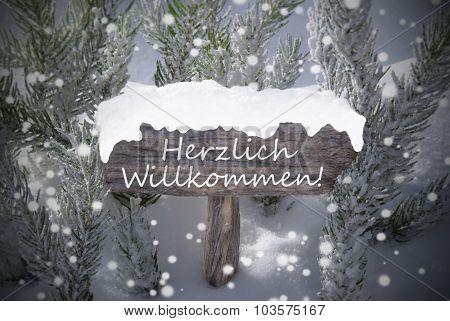 Christmas Sign Snowflakes Fir Tree Willkommen Means Welcome
