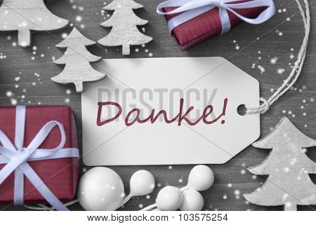Christmas Label Gift Tree Snowflakes Danke Means Thank You