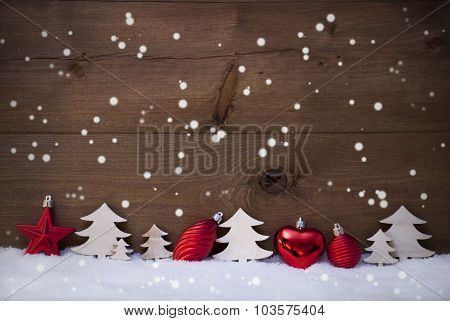 Red, White Christmas Decoration, Tree, Copy Space, Snowflakes