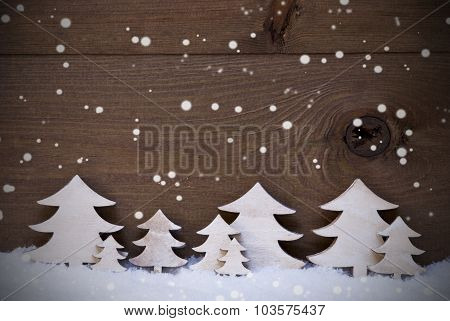 Wooden Christmas Trees On Snow, Copy Space, Snowflakes