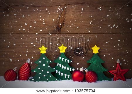 Christmas Card With Green Trees And Red Balls, Snow, Snowflakes