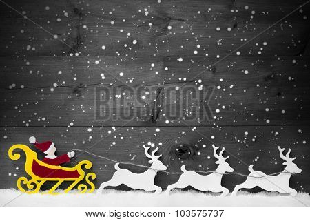 Gray Card With Santa Claus Sled, Reindeer, Snowflake, Copy Space