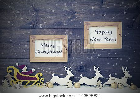 Vintage Santa Claus Sled, Merry Christmas And Happy New Year
