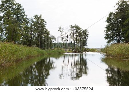 Channel Leading To Port In Sztynort. Poland.
