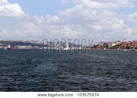 Maiden Tower and Bosphorus Bridge in Istanbul Turkey