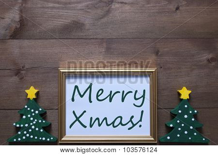 Picture Frame With Christmas Tree And Text Merry Xmas