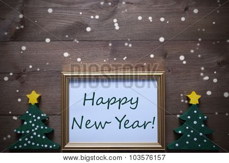 Frame With Christmas Tree And Text Happy New Year, Snowflakes