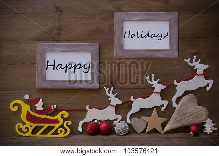 Santa Claus Sled And Reindeer, Frame With Happy Holidays
