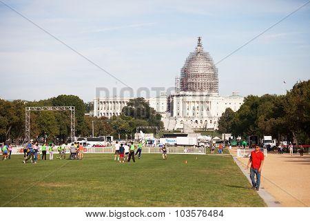 WASHINGTON DC, USA -  SEP 24 2015 : The dome of Washington Capitol Building undergoes restoration.