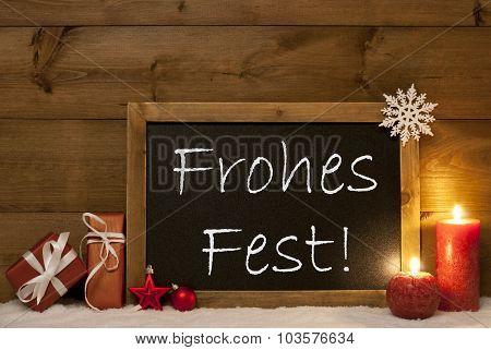 Festive Card, Blackboard, Snow, Frohes Fest Mean Merry Christmas
