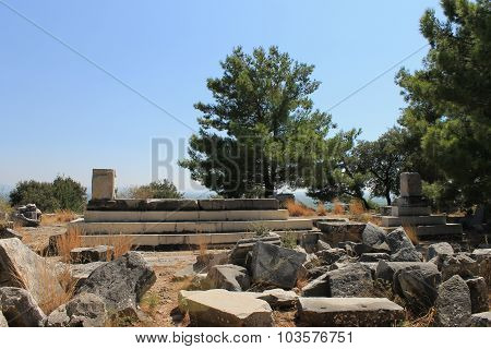 The ruins of the Temple of Athena in the ancient city of Priene