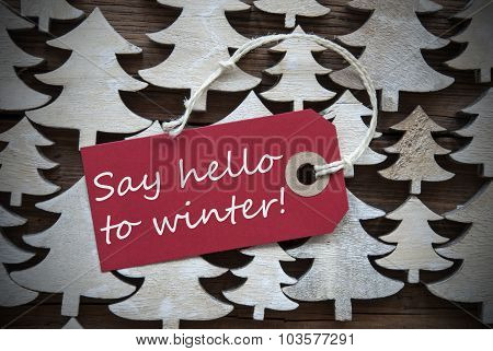 Red Christmas Label With Say Hello To Winter