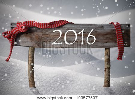 Brown Christmas Sign 2016 Snow, Red Ribbon, Snowflakes