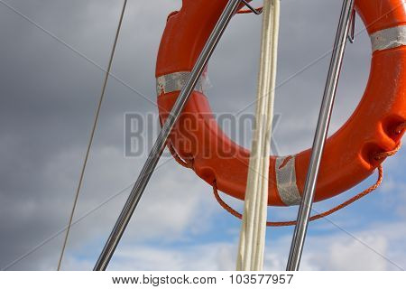 Lifebuoy Hanging On Back Part Of Yacht