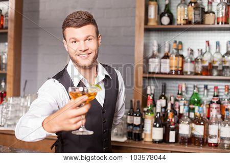 Cheerful male bartender is serving his customer