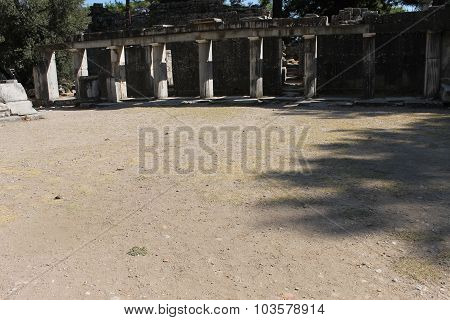 The ruins of the ancient amphitheater in the city of Priene