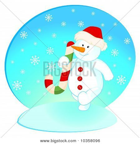 Vector cartoon little cute snowman with gift