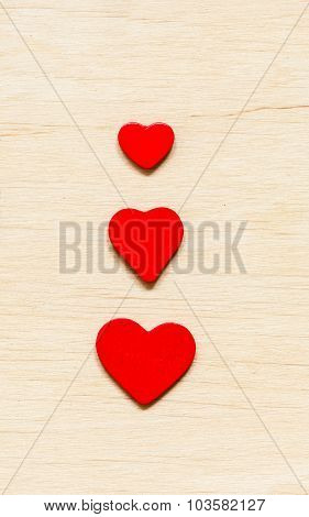 Valentine's Day Background. Red Decorative Hearts