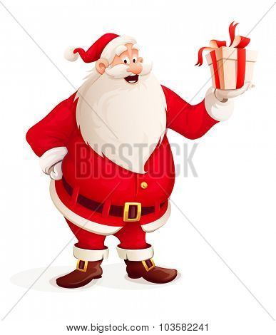 Merry Santa Claus with Christmas gift in hand. vector illustration. Isolated on white background. Transparent objects used for lights and shadows drawing.