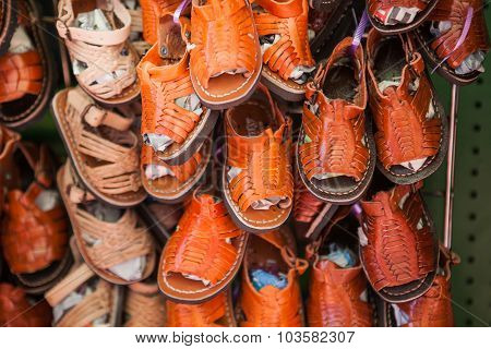 Handmade mexican leather children shoes and sandals.