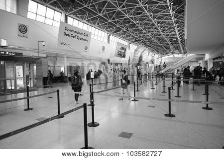 HELSINKI, FINLAND - SEPTEMBER 03, 2014: Helsinki Airport check-in area. Helsinki Airport  is the main international airport of the Helsinki metropolitan region and the whole of Finland