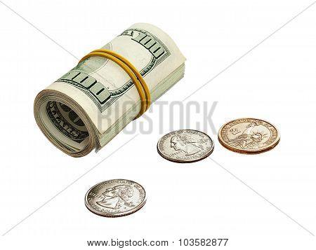 roll of dollar banknotes