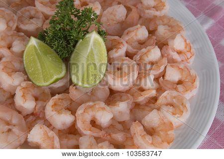Plate of fresh raw of prawns