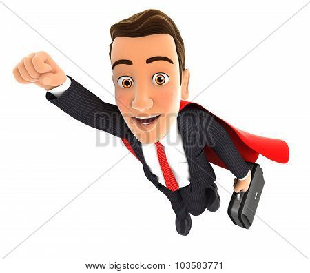 3d businessman superhero
