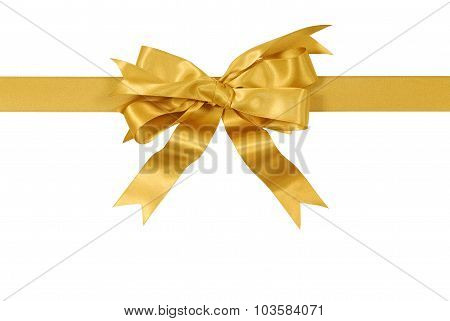Yellow Gold Gift Ribbon Bow Straight Horizontal Isolated On White Background