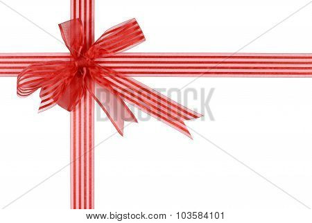 Red Striped Gift Ribbon Bow Isolated On White Background