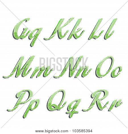 Glossy green alphabet with stripes on white background. illustration.