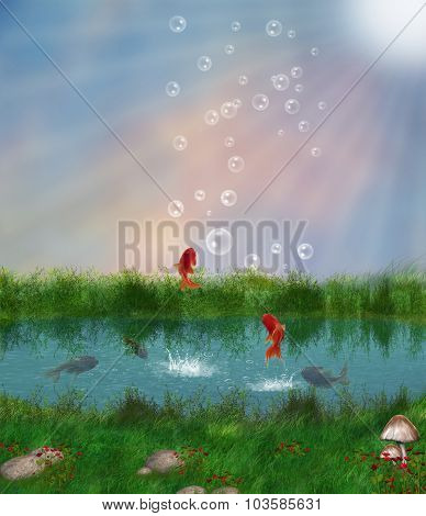 Fantasy Pond And Red Fishes