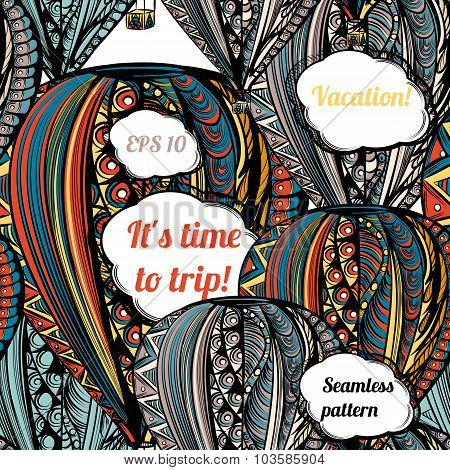 It's Time To Trip. Air Balloon With Hippie Style Ornament In Ethnic Colors