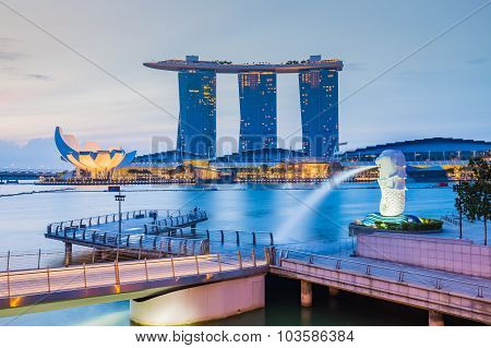 Singapore Skyline Cityscape At Twilight
