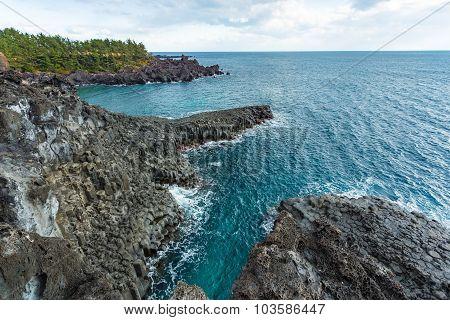 Jungmun Daepo Coast Jusangjeolli Cliff In Jeju Island, South Korea