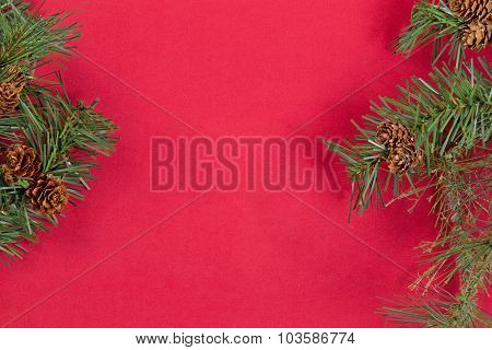 Evergreen Branches Forming Borders On Red Background