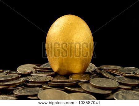 Golden Eggs On Black Background